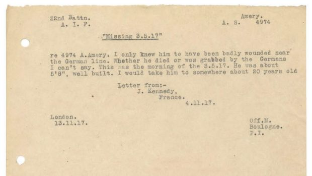The letter advising that Alex Amery is missing.