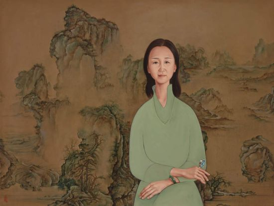Dapeng Liu, <i>Portrait of Yin Cao on blue-and-green landscape</i>.