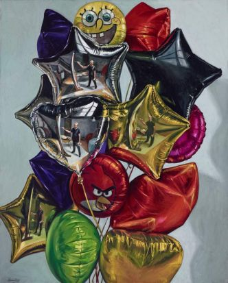 Peter Churcher, <i>Four self-portraits in a bunch of balloons</i>.