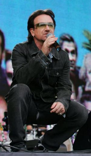 Drawing global attention: Bono performs during the opening of the Live 8 concert in Hyde Park, London, in 2005.