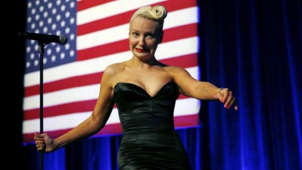 Singer Sia walks from the stage after performing at the Democratic National Committee's Lesbian, Gay, Bisexual and ...