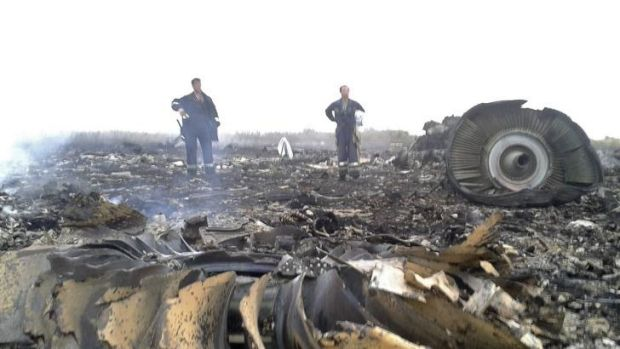 Emergency workers at the site of the MH17 crash.