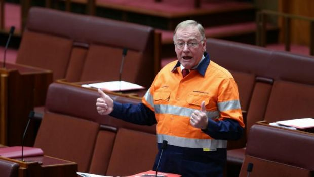 """Disorderly"": Liberal senator Ian Macdonald appears in a high-vis Australians for Coal shirt."