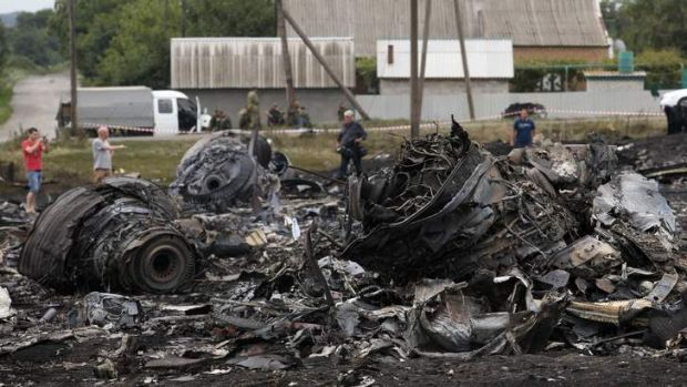 Debris at the site of the MH17 plane crash in eastern Ukraine.
