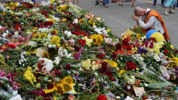 A sea of flowers has emerged outside the Dutch embassy in Kiev. Nearly 200 MH17 victims were from the Netherlands.