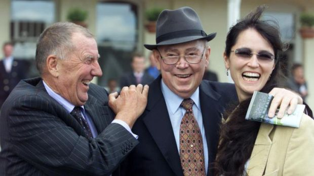 Glory days: The late Jack Ingham (centre) celebrates a victory at Randwick with John and Julie Singleton in 2002.