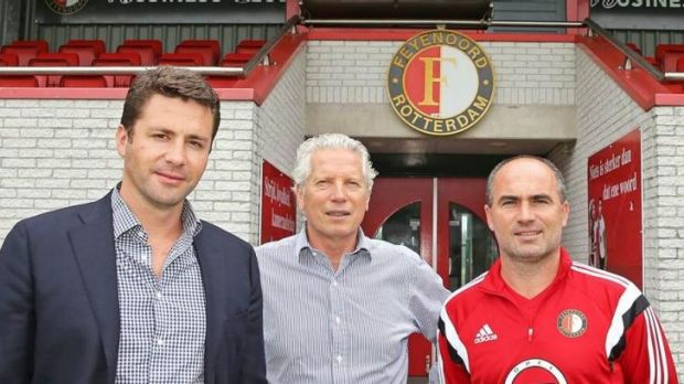 Planning ahead: Sydney FC chairman Scott Barlow (left) and soon-to-be board member Han Berger, centre, visiting Dutch ...