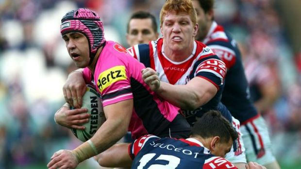 Wrapped up: Panthers veteran Jamie Soward is engulfed.