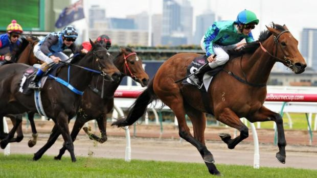 Regan Bayliss rides Reckless Assassin to victory at Flemington on Saturday.