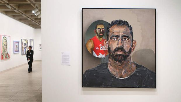A portrait of Australian of the Year 2014, Adam Goodes by Alan Jones.