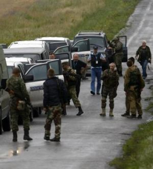 Donetsk region: Pro-Russian separatists greet monitors from the Organisation for Security and Cooperation in Europe amid ...