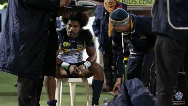 Brumbies winger Henry Speight sits in the sin-bin on Saturday night.