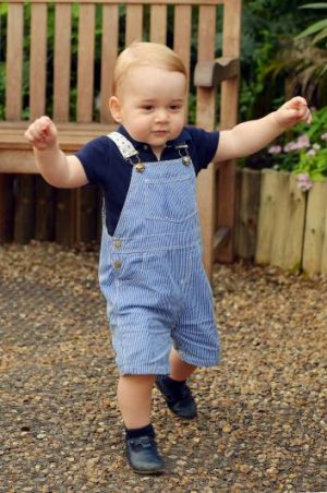 First steps: Prince George takes his first steps just before his first birthday on July 22, 2014.