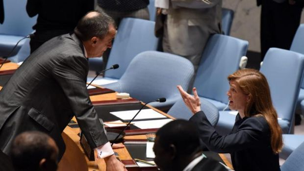France's Ambassador to the United Nations Gerard Araud (L) speaks with US Ambassador to the UN Samantha Power before the ...