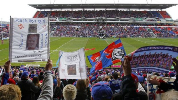 Sea of support: Newcastle Knights fans came out in force to honour Alex McKinnon.