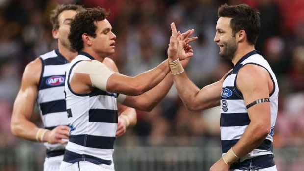 Jimmy Bartel, right, will have to play consistently better if the Cats are to be a finals chance.
