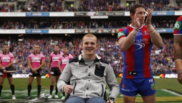 Smiling again: Alex McKinnon with Knights skipper Kurt Gidley.