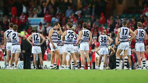 Geelong after their 110-point loss to Sydney, Thursday 29th May, 2014.