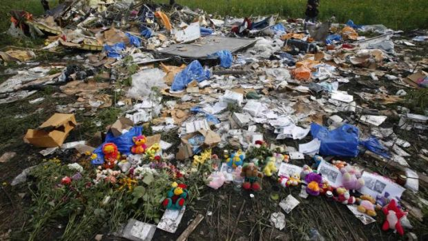 A shrine at the crash site of Malaysia Airlines flight MH17 near Rozspyne in the Donetsk region of Ukraine.