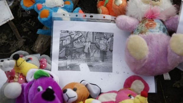Mementos placed by local residents at the crash site of MH17 near Rozspyne in Ukraine.