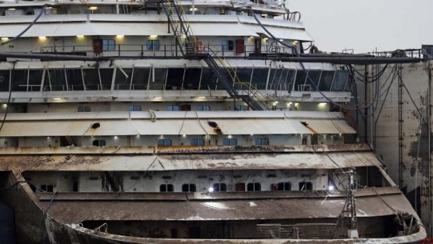 The bow of the Costa Concordia