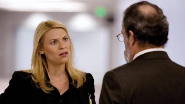 Scowling while kicking serious terrorist butt ... Claire Danes as Carrie Mathison in <i>Homeland</i>.