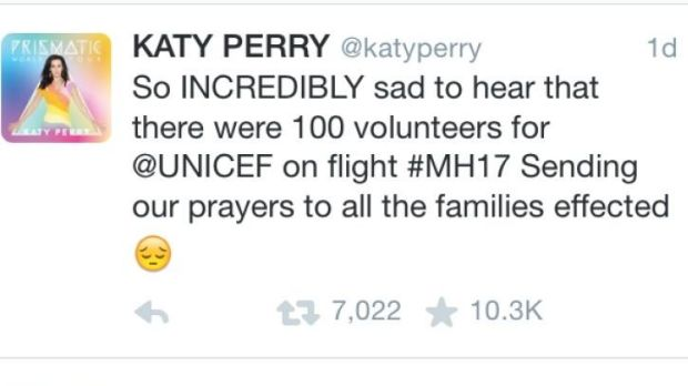 Katy Perry's confusing tweet in support of MH 17 victims.