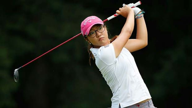 Lydia Ko watches her drive on the 18th hole during the final round of the Marathon Classic in Sylvania, Ohio, on Sunday.