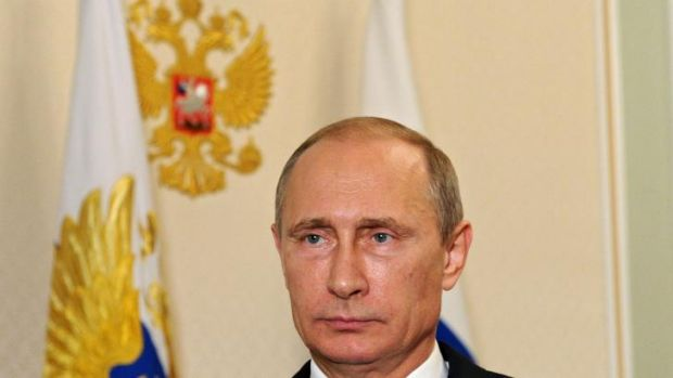 Russia's President Vladimir Putin in his video address on the Malaysia Airlines crash in the early hours of July 21, ...