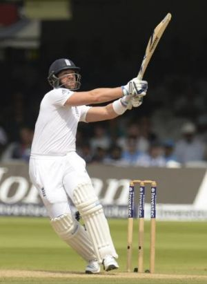 England's Matt Prior again holed out on the pull shot.