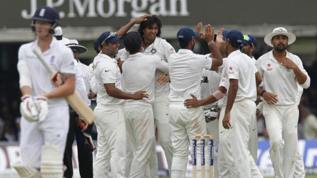 India celebrate the wicket of Ben Stokes.