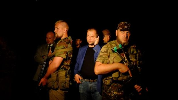 "Self-proclaimed Prime Minister of the pro-Russian separatist ""Donetsk People's Republic Alexander Borodai arrives at the ..."