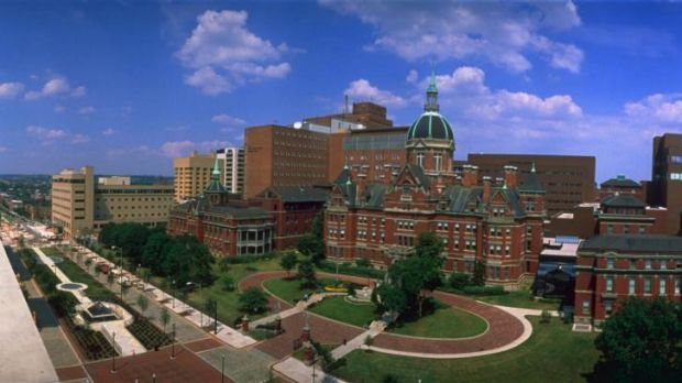 Johns Hopkins hospital campus in Baltimore, Maryland.