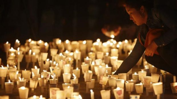 A candlelight vigil in South Korea, to commemorate the victims of the Sewol.