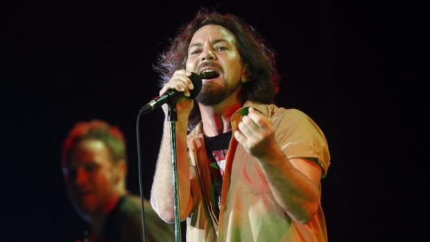 Speaking out for peace: Eddie Vedder in concert with Pearl Jam in Melbourne in 2009.