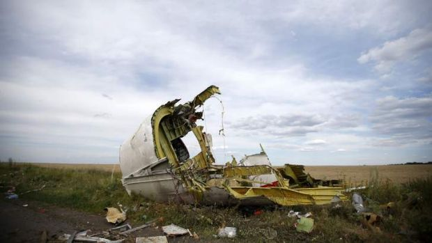 Damage to plane consistent with that inflicted by surface-to-air missile: A part of the wreckage is seen at the crash ...