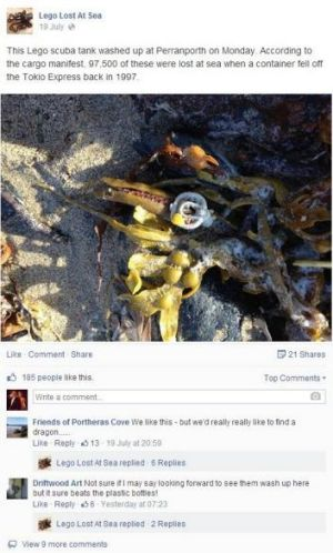 A Facebook post from Lego Lost at Sea, showing a Lego scuba tank that washed ashore at Perranporth, England.