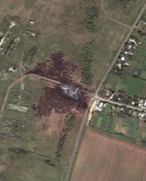 PM warns of evidence tampering: Satellite image of MH17 crash site.