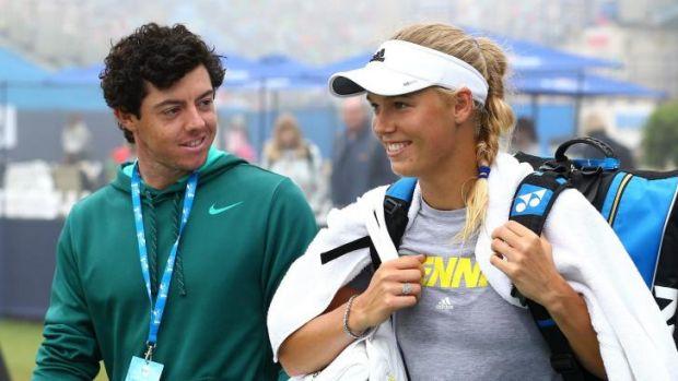 No longer engaged: Rory McIlroy and Caroline Wozniacki in England last June.