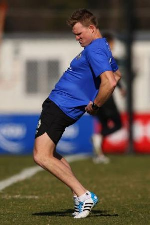 Maybe still feeling those infamous hamstrings? Nathan Buckley at training.