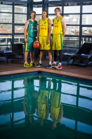 Matthew Dellavedova, Dante Exum and Cameron Bairstow in Canberra on Wednesday.