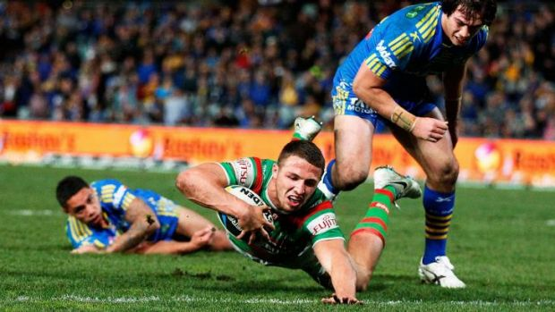 Ultimate League champion: Sam Burgess crashes over for South Sydney.