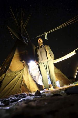 Fighting on: Murray Drechsler and his teepee at Maules Creek.