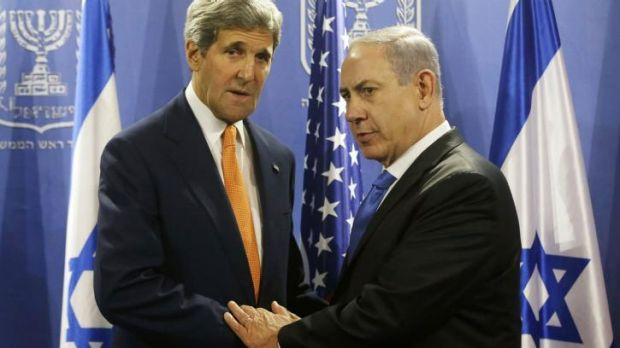 US Secretary of State John Kerry meets with Israel's Prime Minister Benjamin Netanyahu (right) in Tel Aviv on Thursday.
