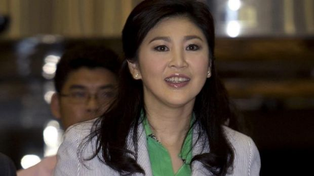Thailand's deposed former prime minister Yingluck Shinawatra at Bangkok airport on Tuesday.