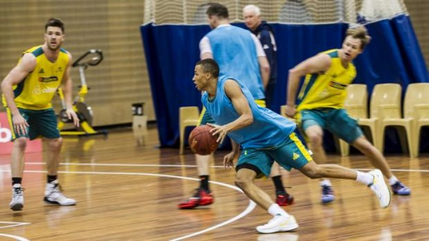 Dante Exum training with the Australian Boomers at the AIS on Thursday.