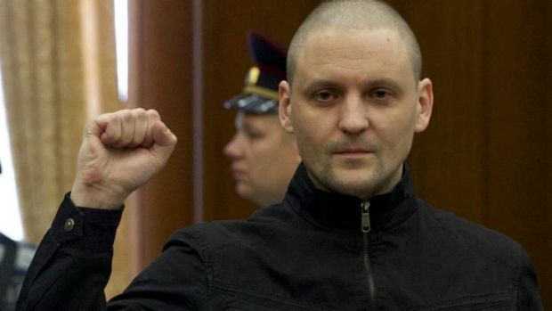 Russian opposition activist Sergei Udaltsov during his trial in Moscow.