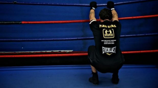 Just warming up: Daniel Geale readies himself for a sparring session.