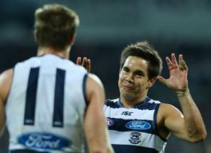 AFL: Cats Joel Corey and Mathew Stokes. Photo: Michael Dodge / Getty Images