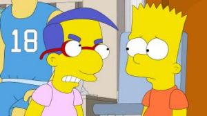 Sweet conclusion; Milhouse and Bart in The Simpsons.